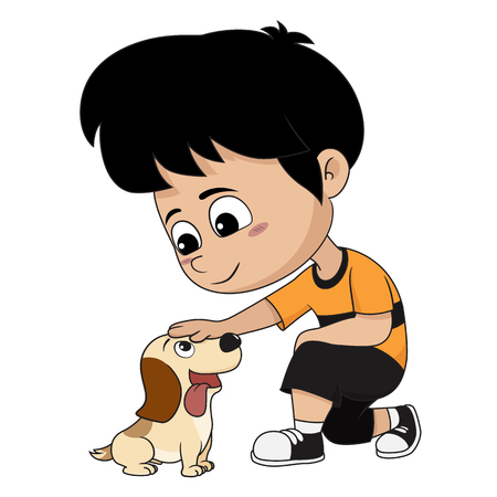 A child playing with his dog.Vector and illustration.