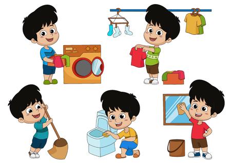 Un giorno il bambino aiuta i genitori a fare molte cose come lavare, fare il bucato, lavare i vestiti, pulire il bagno e pulire il vetro. Vettore e illustrazione.