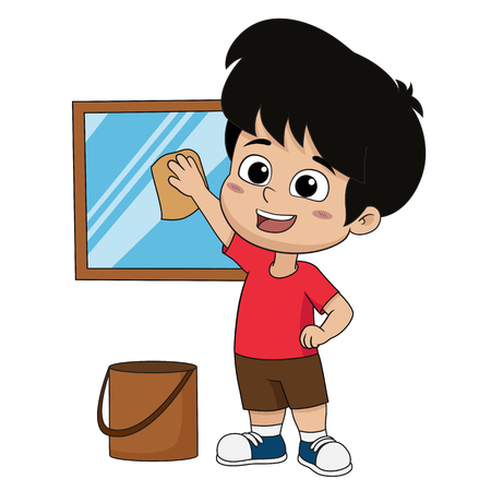 Kid help their parents to clean a glass.Vector and illustration.