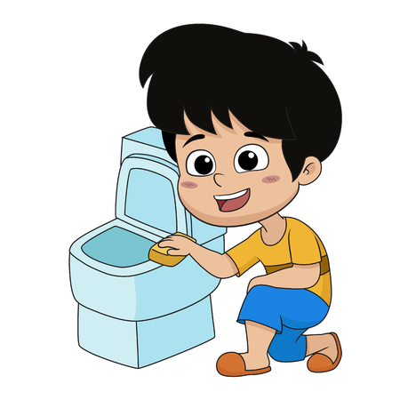 Kid help their parents to clean a toilet.Vector and illustration.