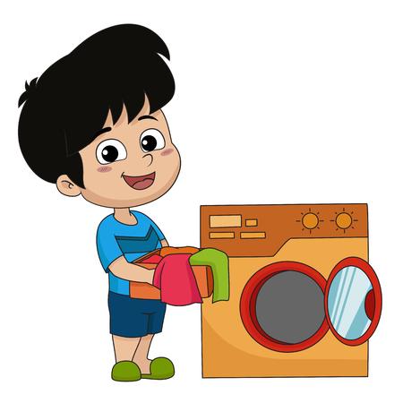 Niño ayuda a sus padres a lavar paños con lavadora. Vector e ilustración.