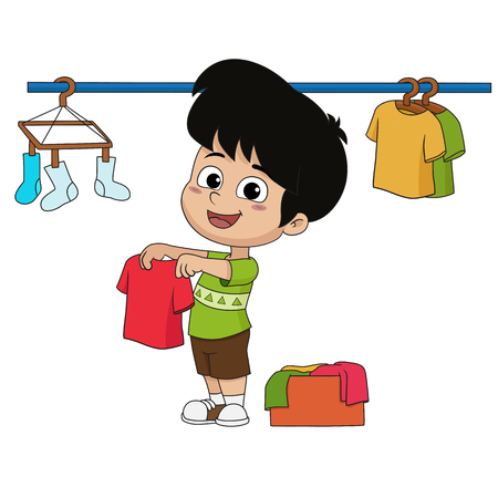 Kid help their parents wash cloths with washing machine.Vector and illustration.