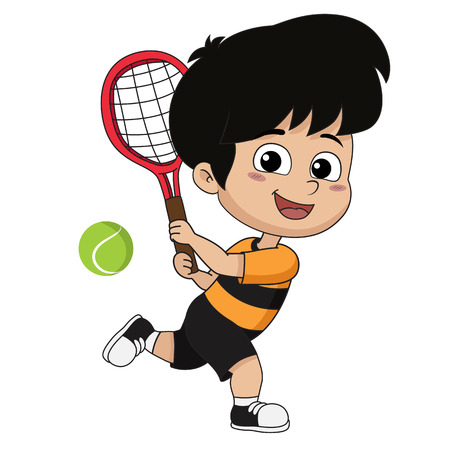 boy playing tennis.vector and illustration.