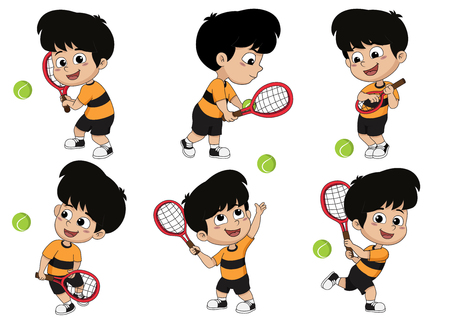 Set of many pose,kids playing tennis.Vector and illustration.