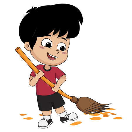 Kid help their parents to sweep home.Vector and illustration. Ilustrace