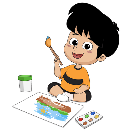 In class the children are drawing on a paper .Vector and illustration. 스톡 콘텐츠 - 123592754