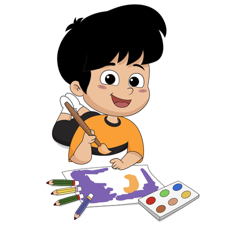 In the class, Children are drawing something on a paper .Vector and illustration.