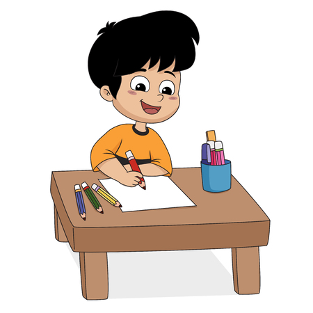 In the class, Children are drawing something on a paper.Vector and illustration.