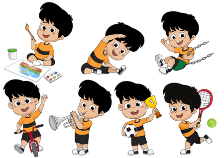 Set of kid activity,kid painting a picture,doing an exercise,playing a tennis,riding a bicycle,playing a trumpet, playing a swing,playing a soccer.Vector and illustration.