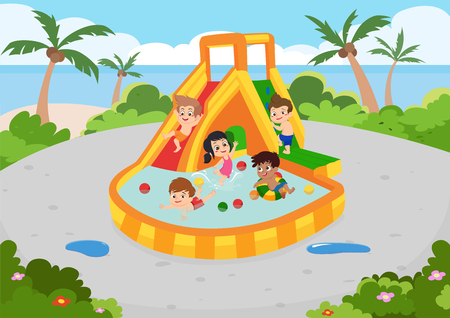 The best summer childs outdoor activities on the beach. Vector and illustration. Illustration