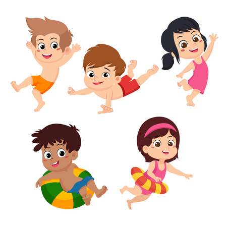 The best summer childs outdoor activities on the beach. Vector and illustration set on white background. Ilustrace