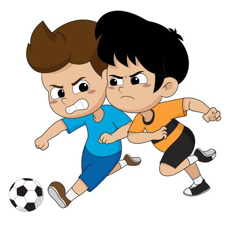 the events in the soccer match. The child tried to scramble the ball together. Vector and illustration.