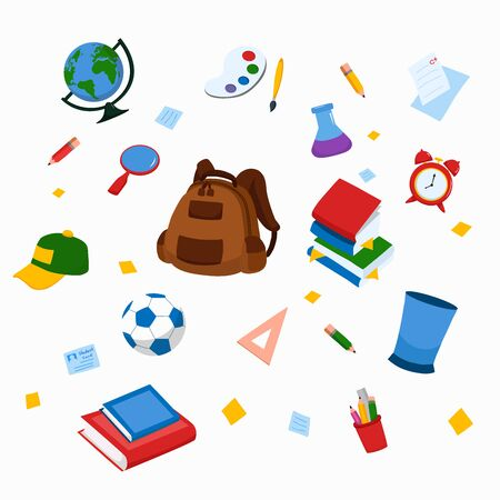 School and education workplace items. Vector and illustration of school supplies.