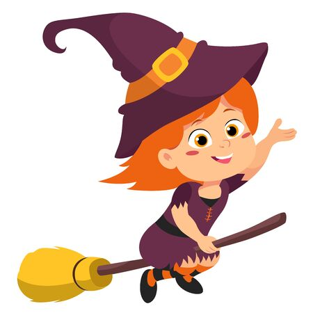Happy Halloween. Cute witch in halloween. vector and illustration. Illustration