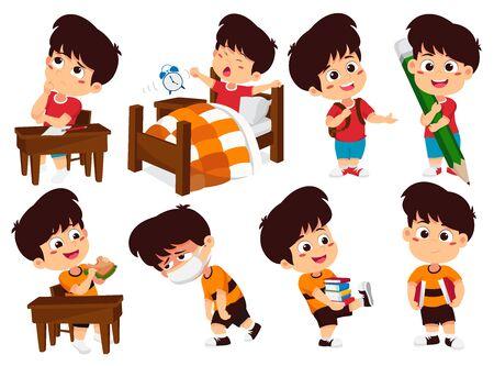 Conjunto de actividades para niños, niños piensan, se despiertan, sostienen un lápiz grande, comen sándwich, enferman, sostienen un libro. Vector e ilustración.