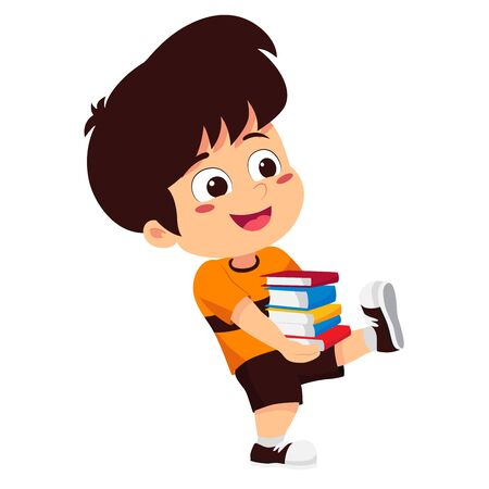 boy reading a book in the library.Vector and illustration.