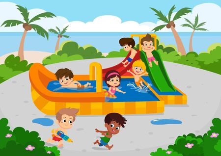 The best summer  child's outdoor activities on the beach.Vector and illustration set on white background. Illustration