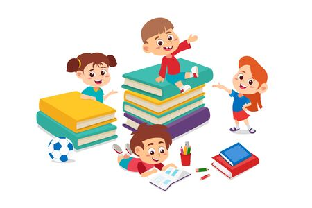 kids reading a book together.Back to school.Vector and illustration. Illustration