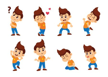 Kids with many expressions, thinking ,love ,surprised, smile, confused ,laugh,sad.Vector and illustration.