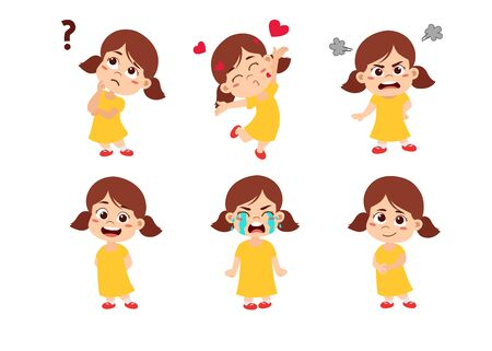 Kids with many expressions, thinking ,love , angry, smile, cry,laugh.Vector and illustration.