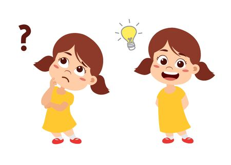 Kid thinking about someting .Vector and illustration.