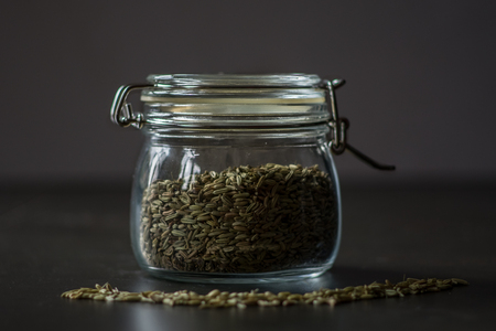 alimentation: Seeds in a jar Stock Photo