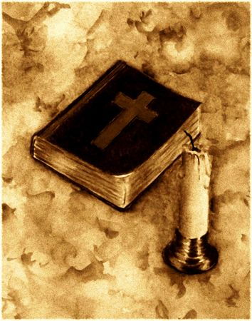 realism: Bible and Candle Stock Photo