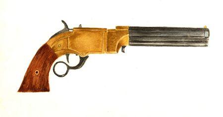 Nineteenth Century Repeating Pistol Фото со стока