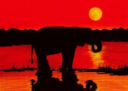 Elephant (Silhouette) Фото со стока
