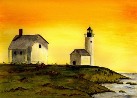 realism: Curtis Island Lighthouse Stock Photo