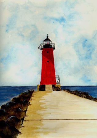 Manistique Breakwater Lighthouse Фото со стока
