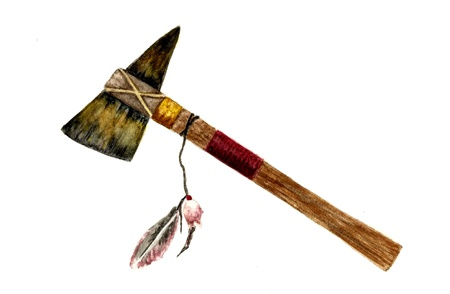 art painting: Native American Tomahawk