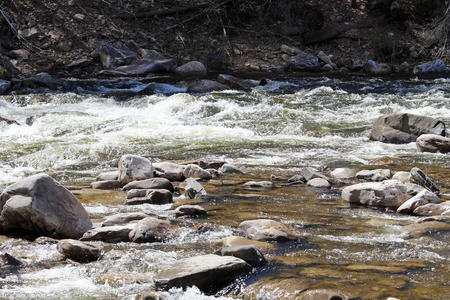 Water rushes around the boulders in this creek.