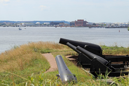 Cannons at Fort McHenry aiming out towards the river.
