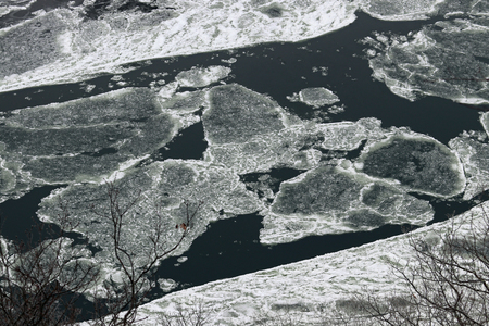 Large chunks of ice floating down the Susquehanna River.
