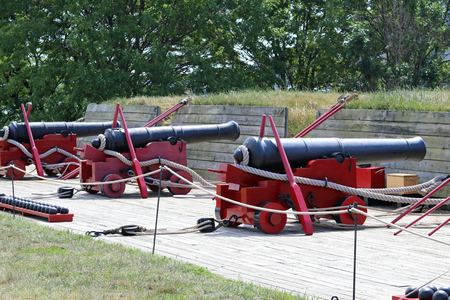 Old cannon weapons on display at a state park in Maryland.