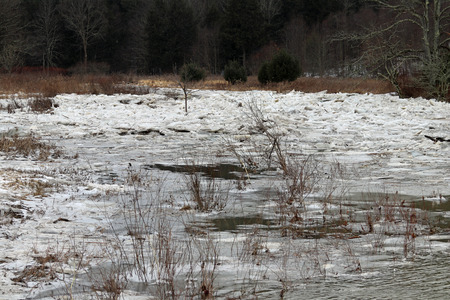 Ice chunks making an ice jam on the Wyalusing creek. 版權商用圖片