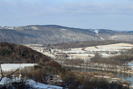 The endless mountains with snowy fields and the Susquehanna River.