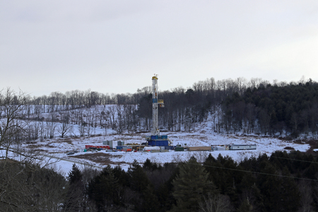 A shale gas well drilling pad on the hills of northeastern Pennsylvania.