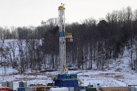 A shale gas well drilling rig on the hills of northeastern Pennsylvania.