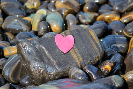 polished: Heart of polished rocks Stock Photo