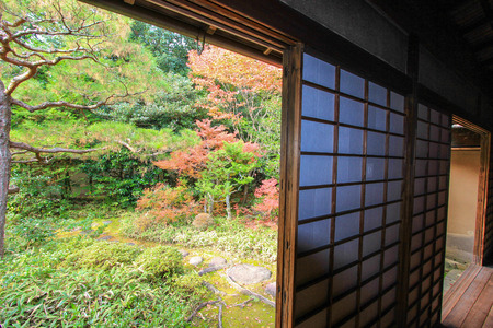momiji: Kotoin Temple in autumn -a popular subtemple of Daitokuji Temple complex in northern Kyoto,Japan Editorial