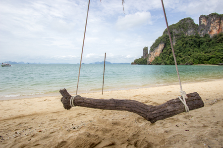 Swings with pleasant and shady atmosphere at Phak Bia Island,Ao Luek District, Krabi,Thailand