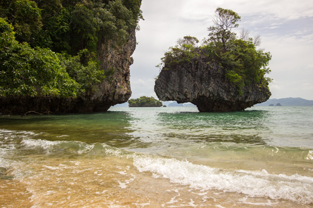 Crystal clear sea water,pleasant and shady atmosphere at Phak Bia Island,Ao Luek District, Krabi,Thailand