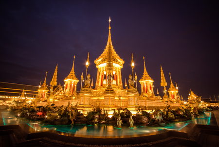Exhibition on royal cremation ceremony,Sanam Luang ,Bangkok,Thailand on November7,2017: Royal Crematorium for the Royal Cremation of His Majesty King Bhumibol Adulyadej Editorial