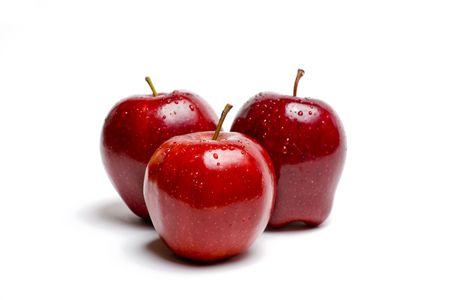白で隔離される水でぴかぴか光る赤いリンゴ 写真素材 - 3462918