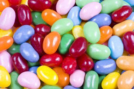 다채로운 젤리 콩 사탕 닫기 및 배경 적합