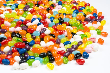 Colorful Jelly Beans Candy on a White Background