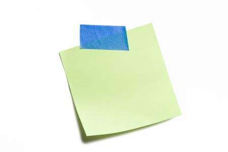 Green sticky note isolated on white
