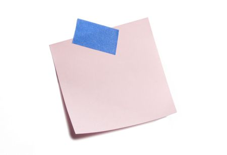Pink sticky note isolated on white Banco de Imagens - 3463003